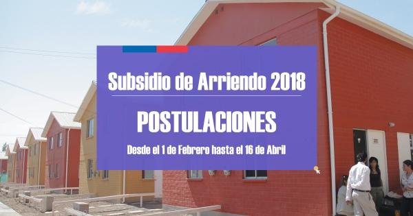 Subsidio de Arriendo postulaciones 2018